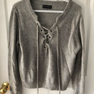 Grey, Lace Up Sweater